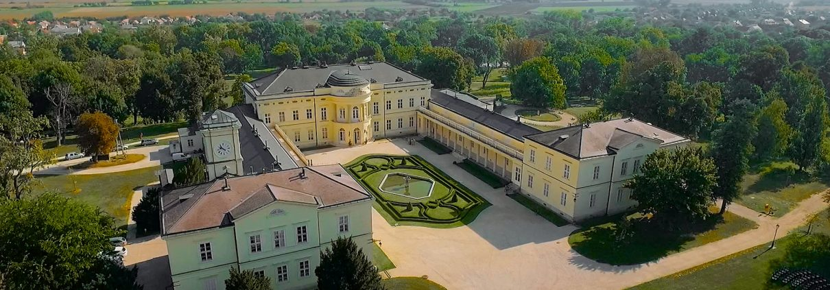 Fehervarcsurgo Karolyi Castle - Aerial view from drone