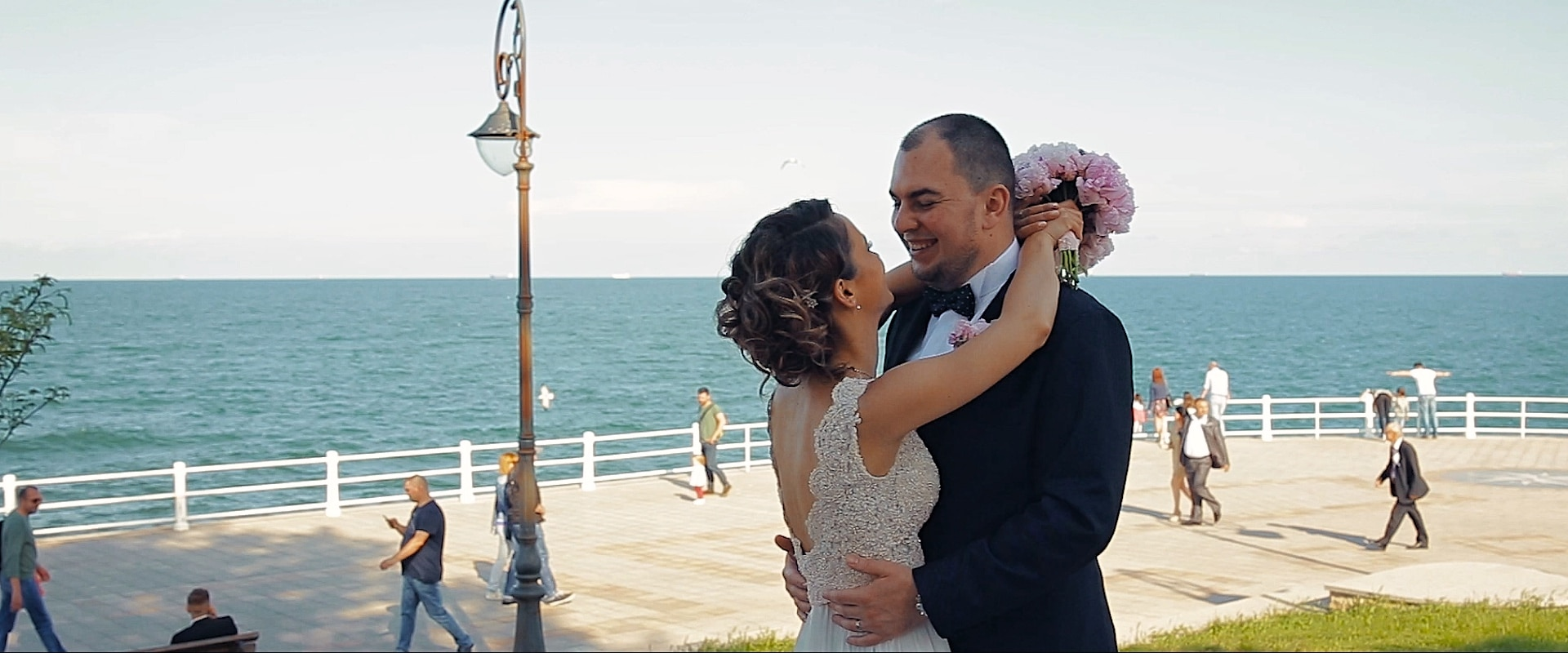 Bride groom on their wedding day near Casino Constanta